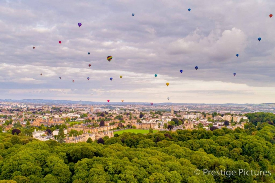 Hot air balloons flying over Bristol