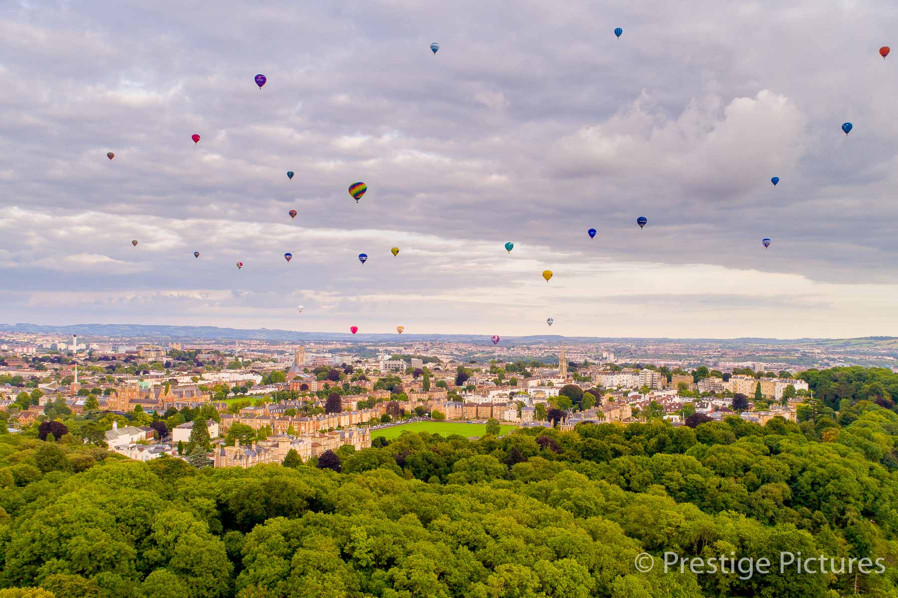 aerial view of 30 hot air balloons over Bristol