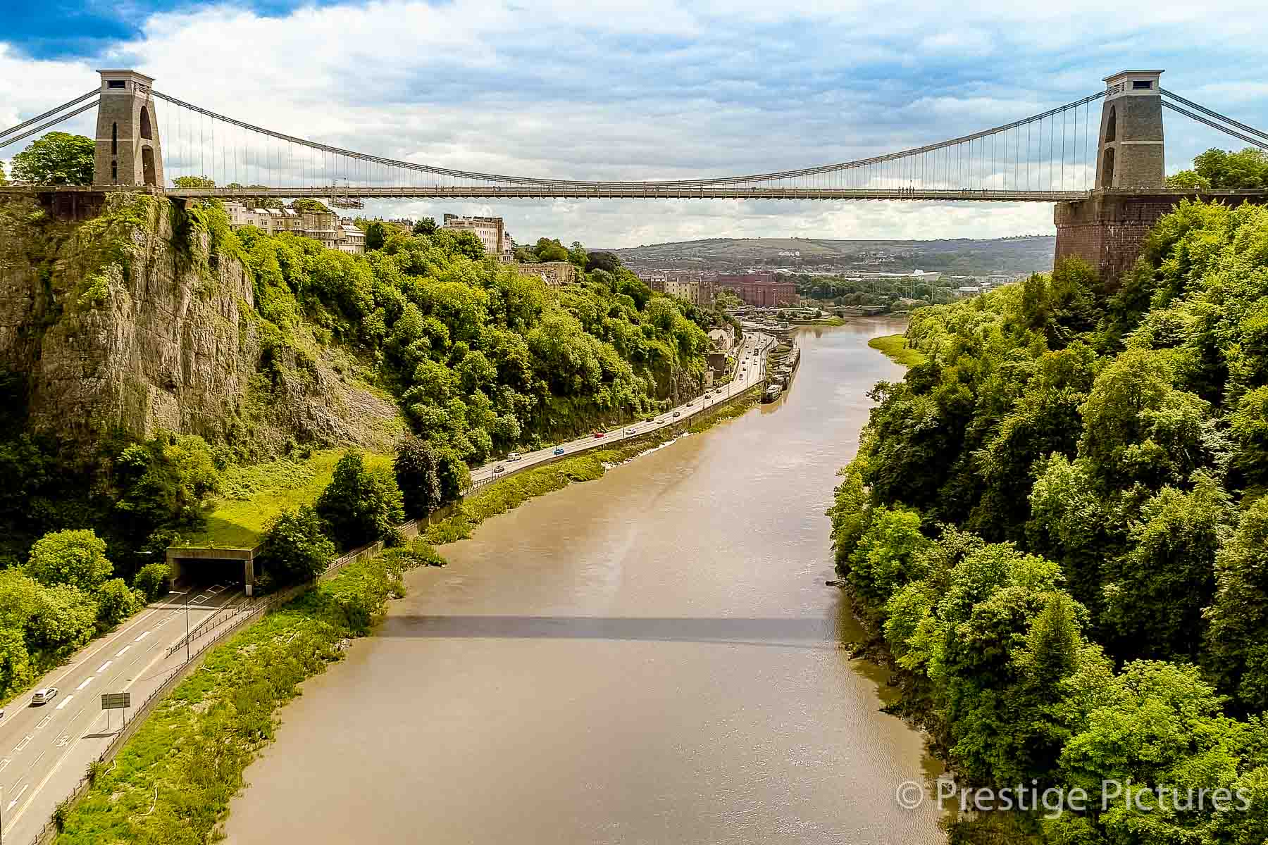 Aerial view of The River Avon and the Clifton Suspension Bridge