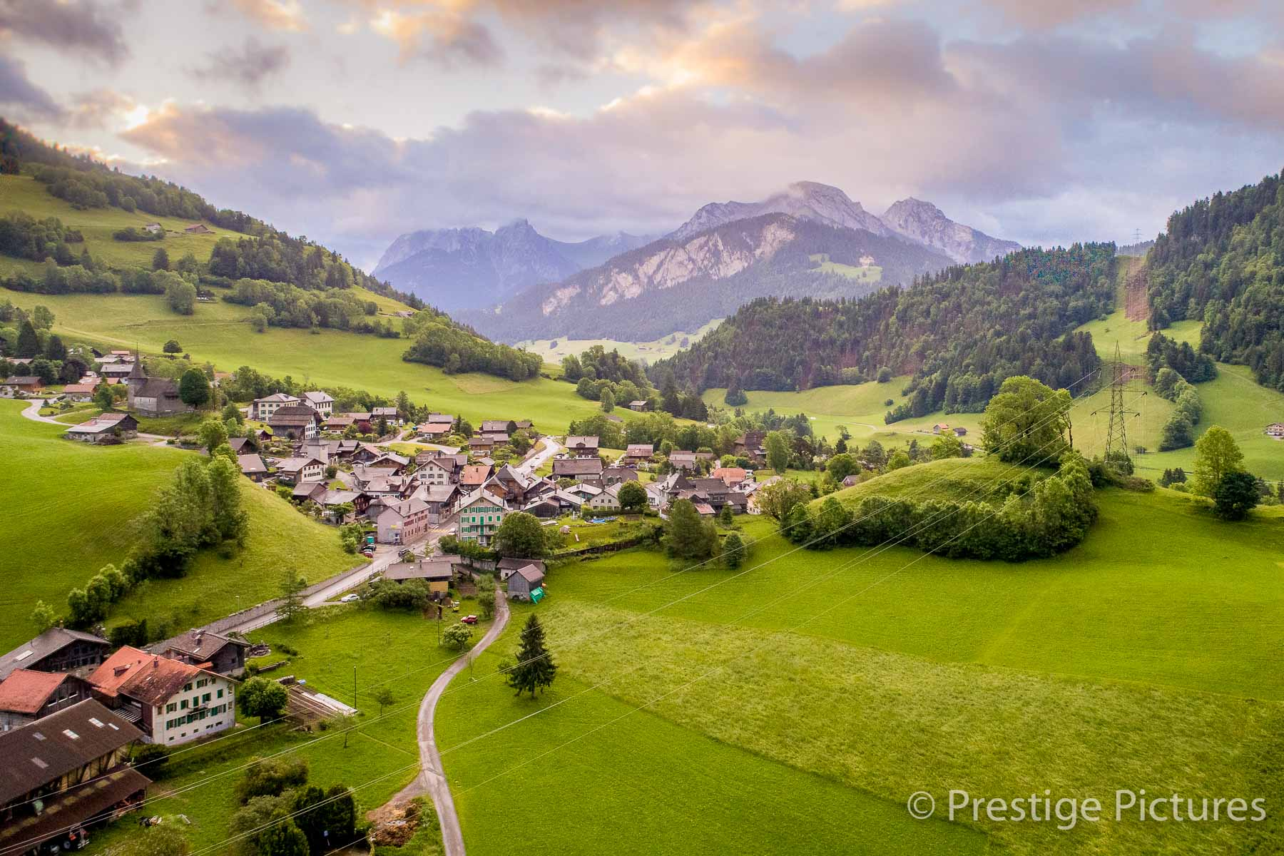 aerial, switzerland, mountains, village