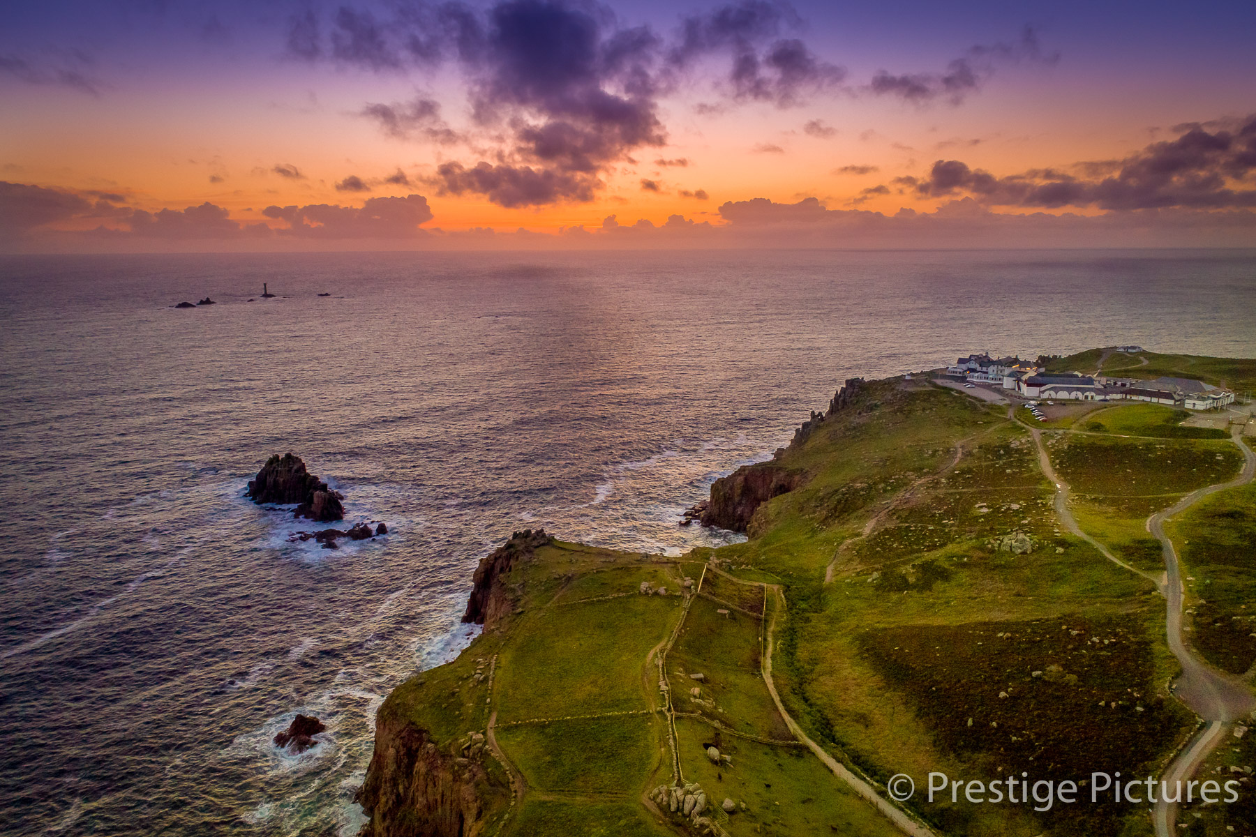 Sunset at Lands End in England, aerial