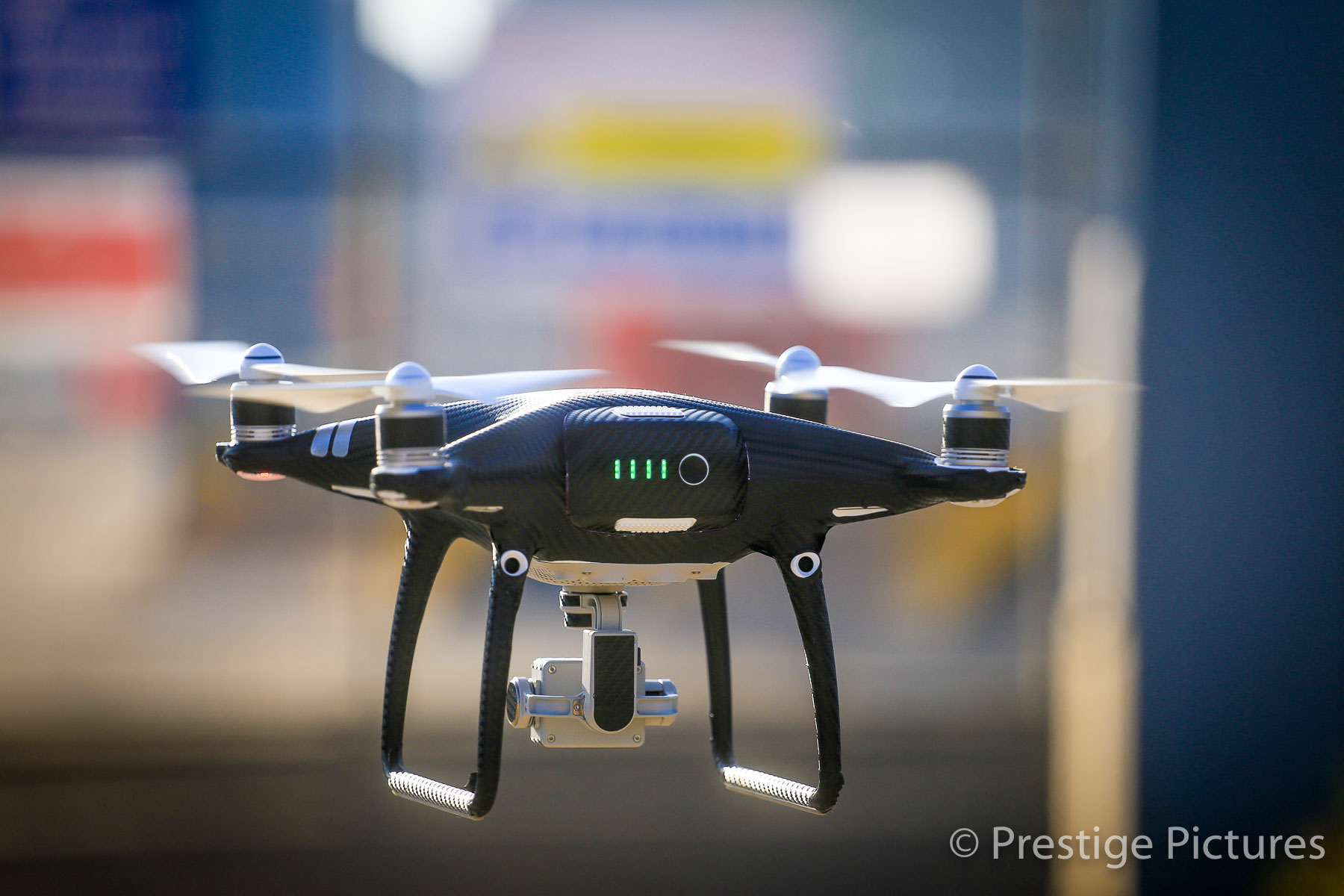One of the Prestige Pictures drones in mid flight