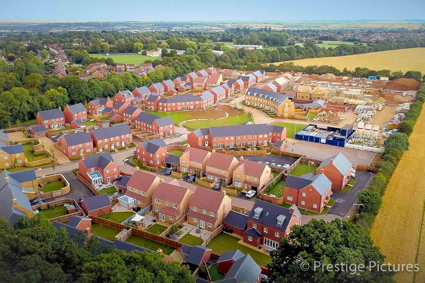 Aerial view of housing estate in north Oxfordshire