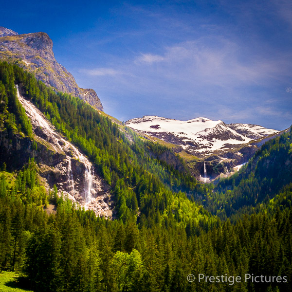 Aerial photo of Swiss Mountain and waterfall