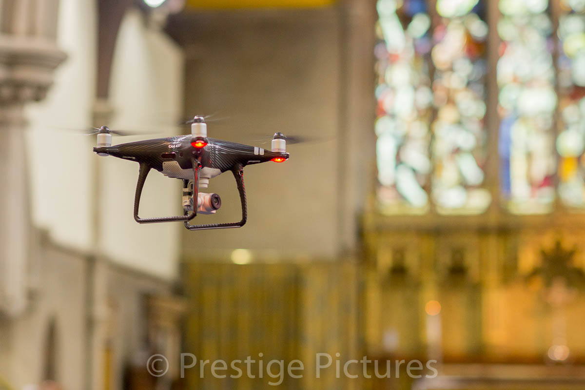 Drone shooting in a church