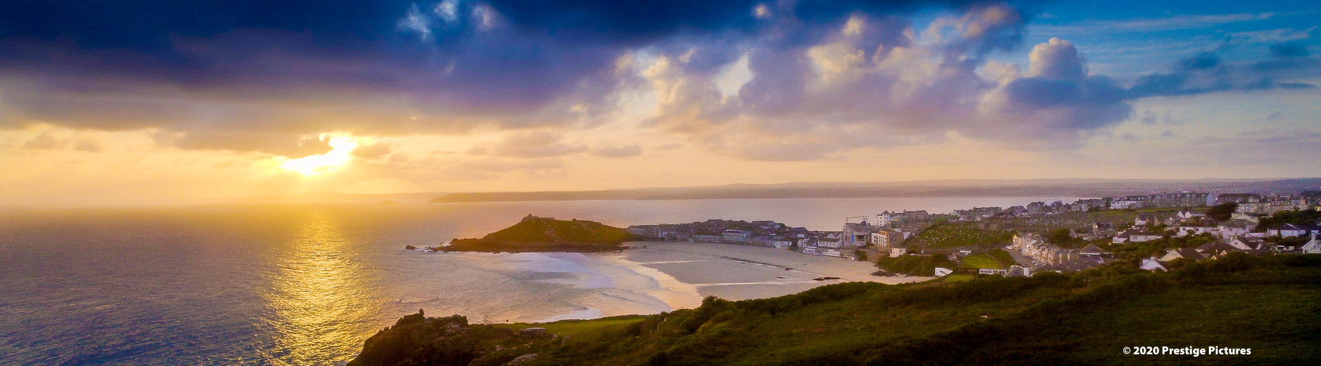 Sunrise over the sea by St Ives in Cornwall